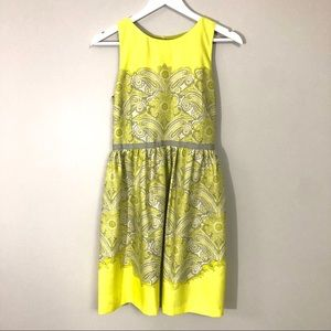 LOFT yellow lime gree/gray printed fit/flare dress